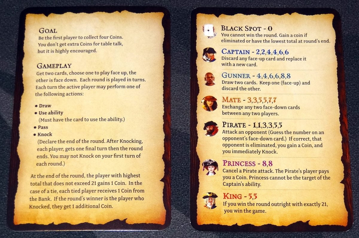 Pirate 21 reference cards