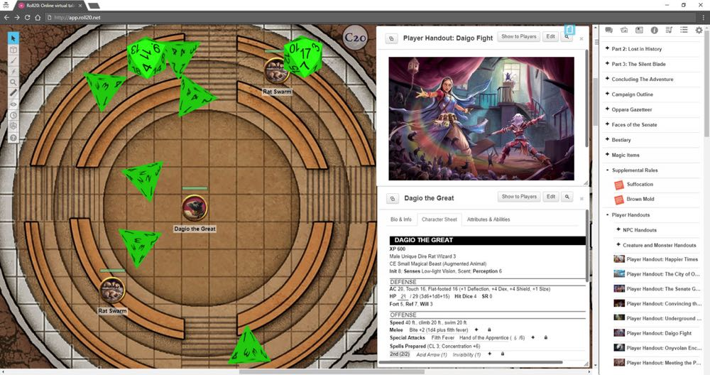 Map, dice, and 'Crownfall' module on Roll20.