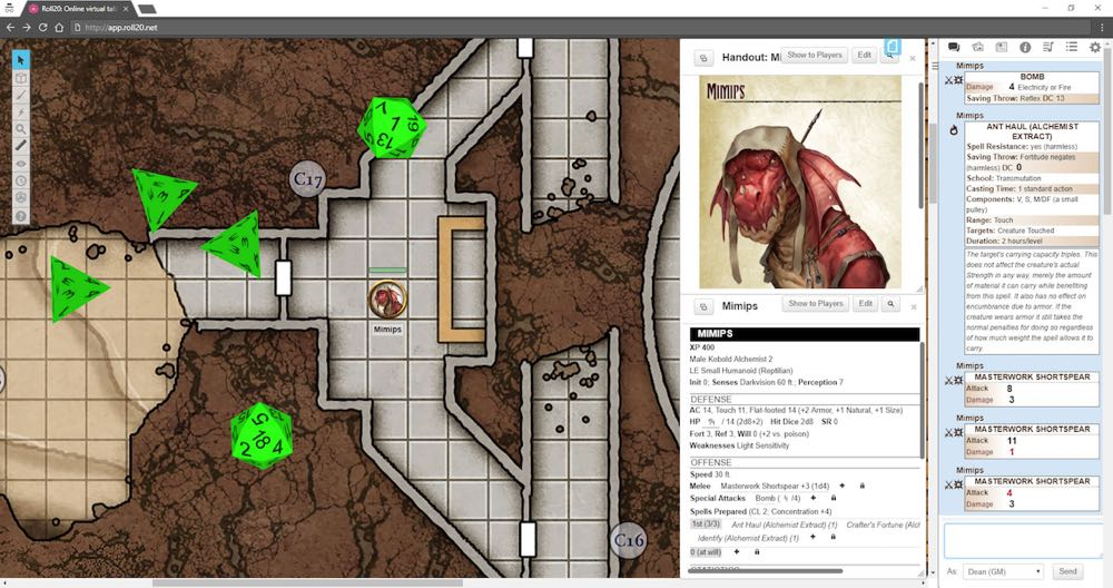 Roll20 Screen with map and monster stats