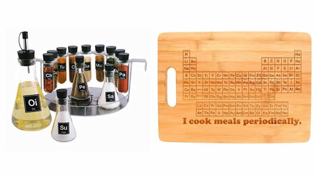 Geek Daily Deals 031618 science spice rack periodic table cutting board