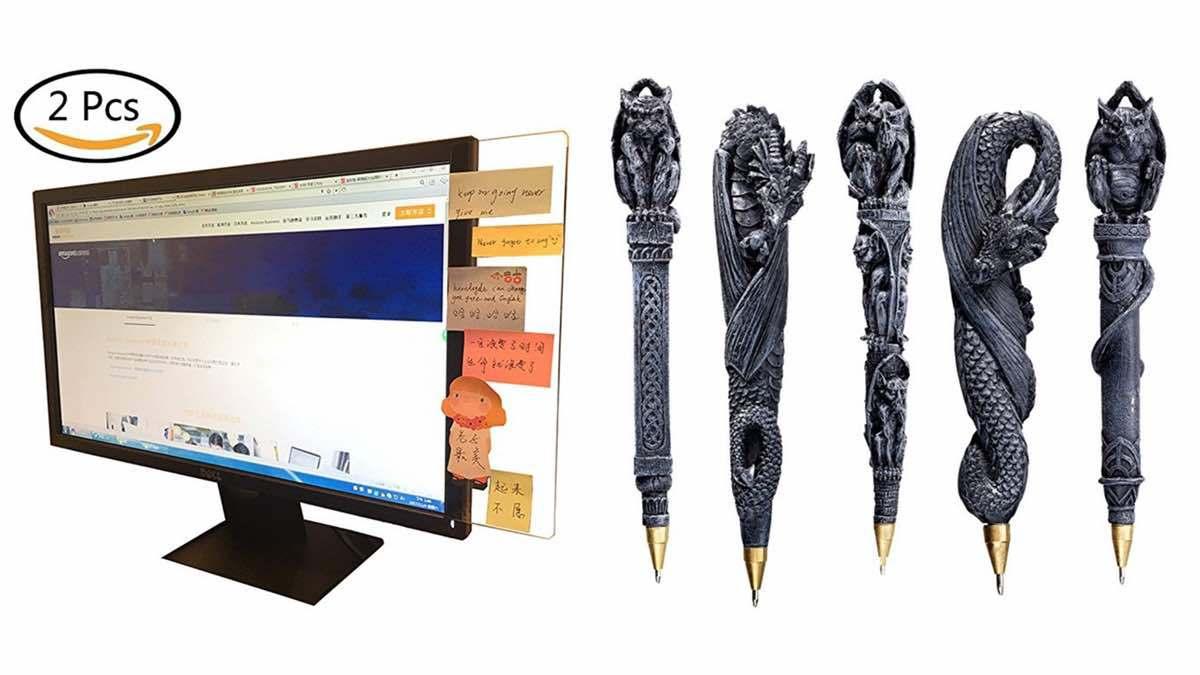 Geek Daily Deals 032718 monitor wings gargoyle pens