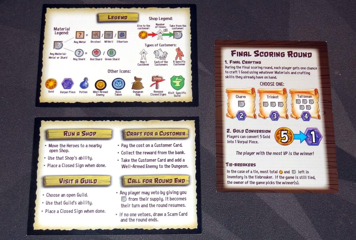 Heroes welcome player aid cards