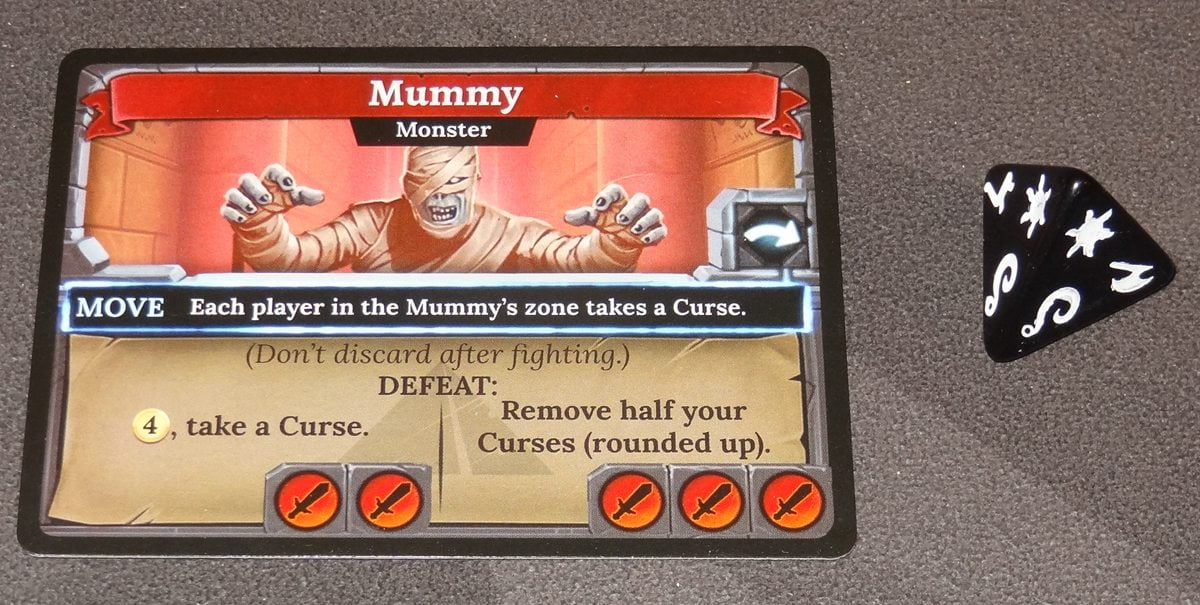 Clank! The Mummy's Curse Mummy card and die