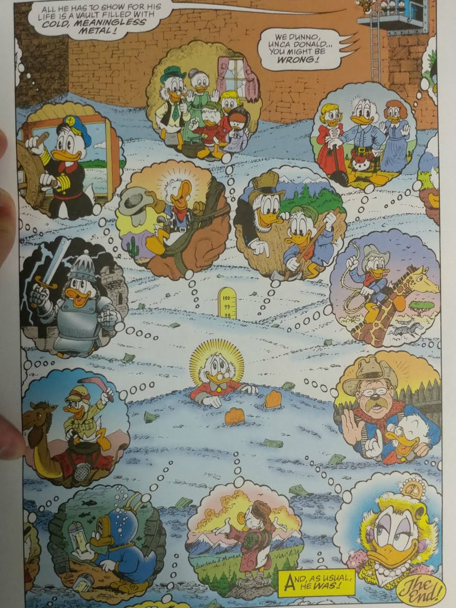 Full color image of Scrooge McDuck surrounded by his memories of his adventures