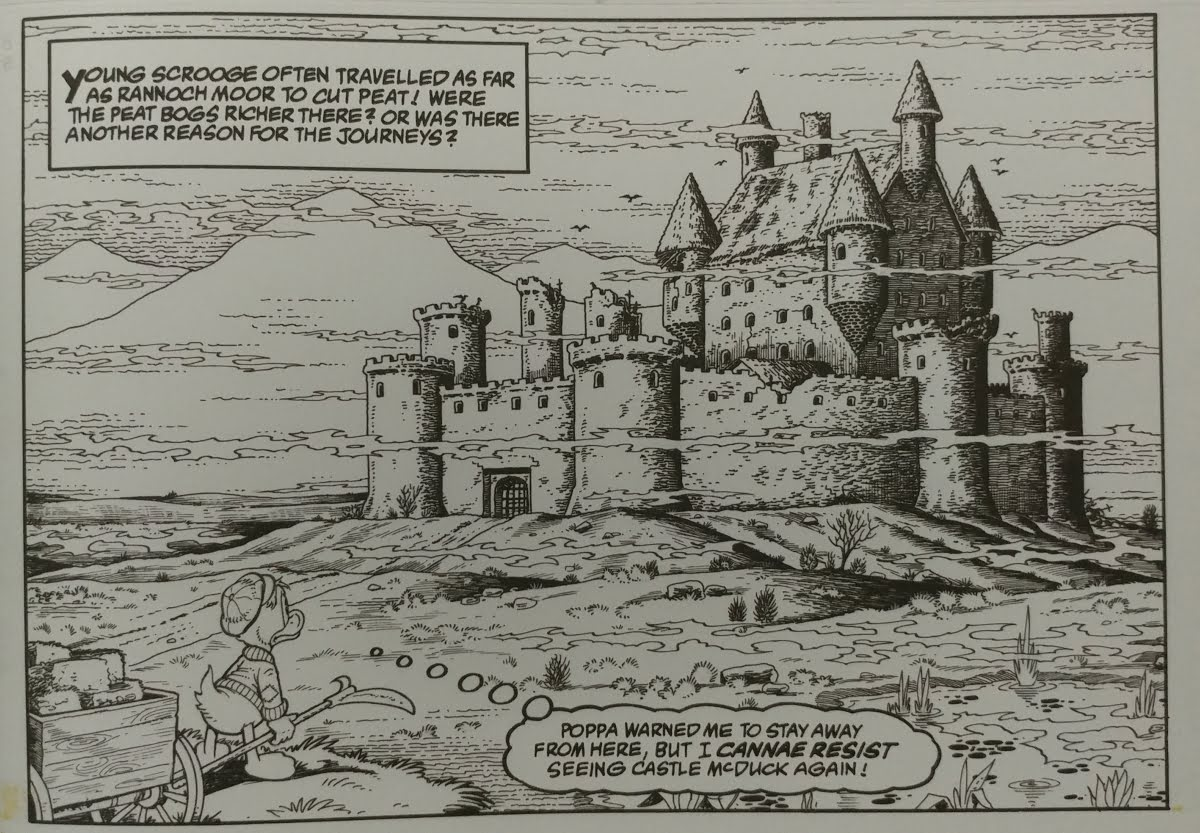 Black and white image of young Scrooge McDuck staring at a distant castle