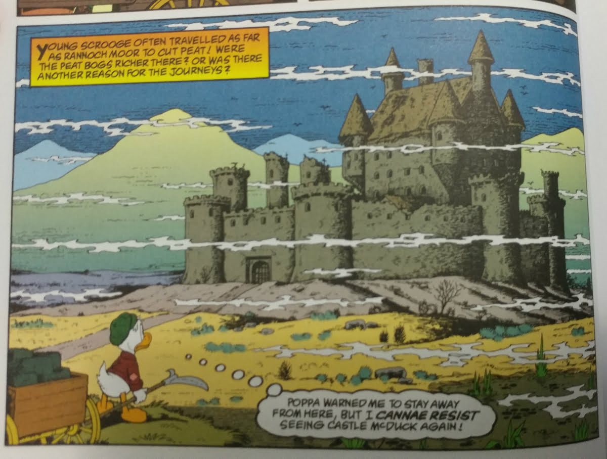 Full color image of young Scrooge gazing at a distant castle.