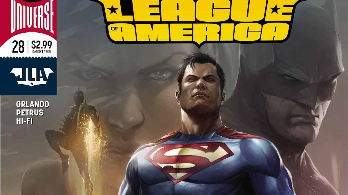 Superman variant cover to Justice League of America #28