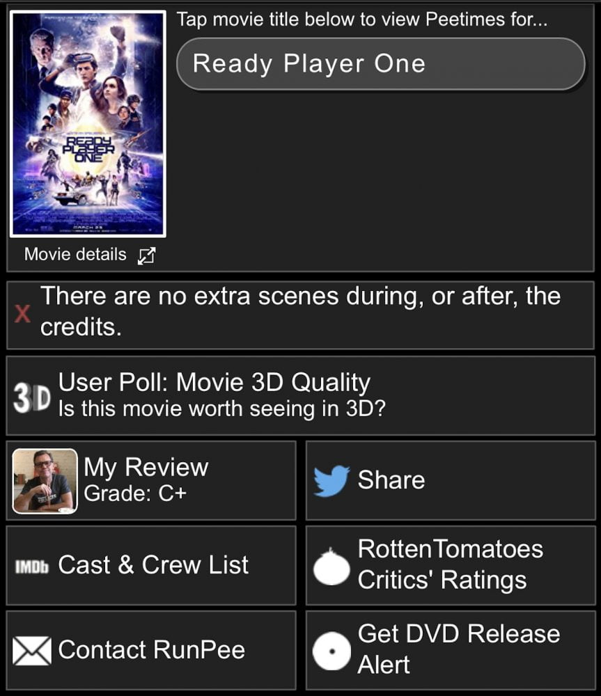 RunPee info screen for Ready Player One.