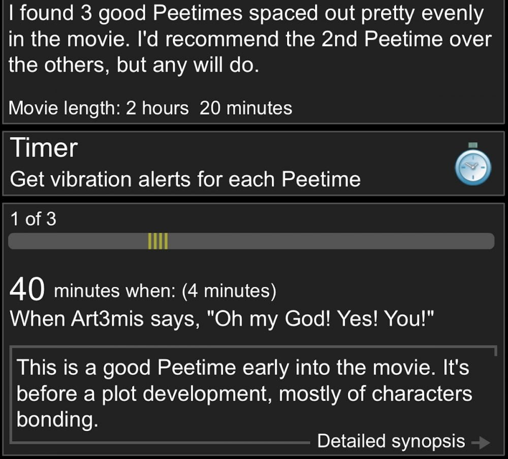 RunPee peetime info for Ready Player One.