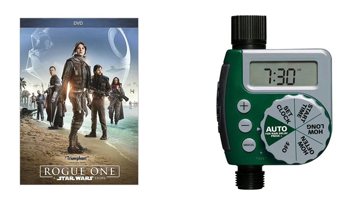 Geek Daily Deals 052118 rogue one dvd sprinkler timer