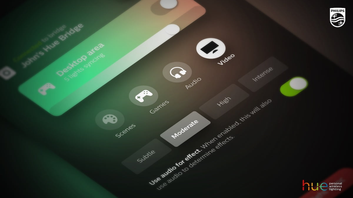 The Philips Hue Sync application gives lighting and media options.