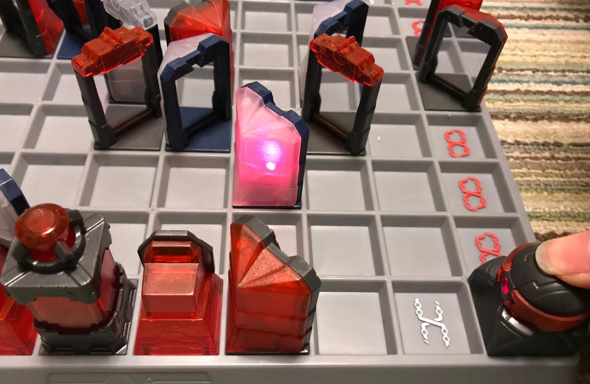 Laser Chess piece hit by laser
