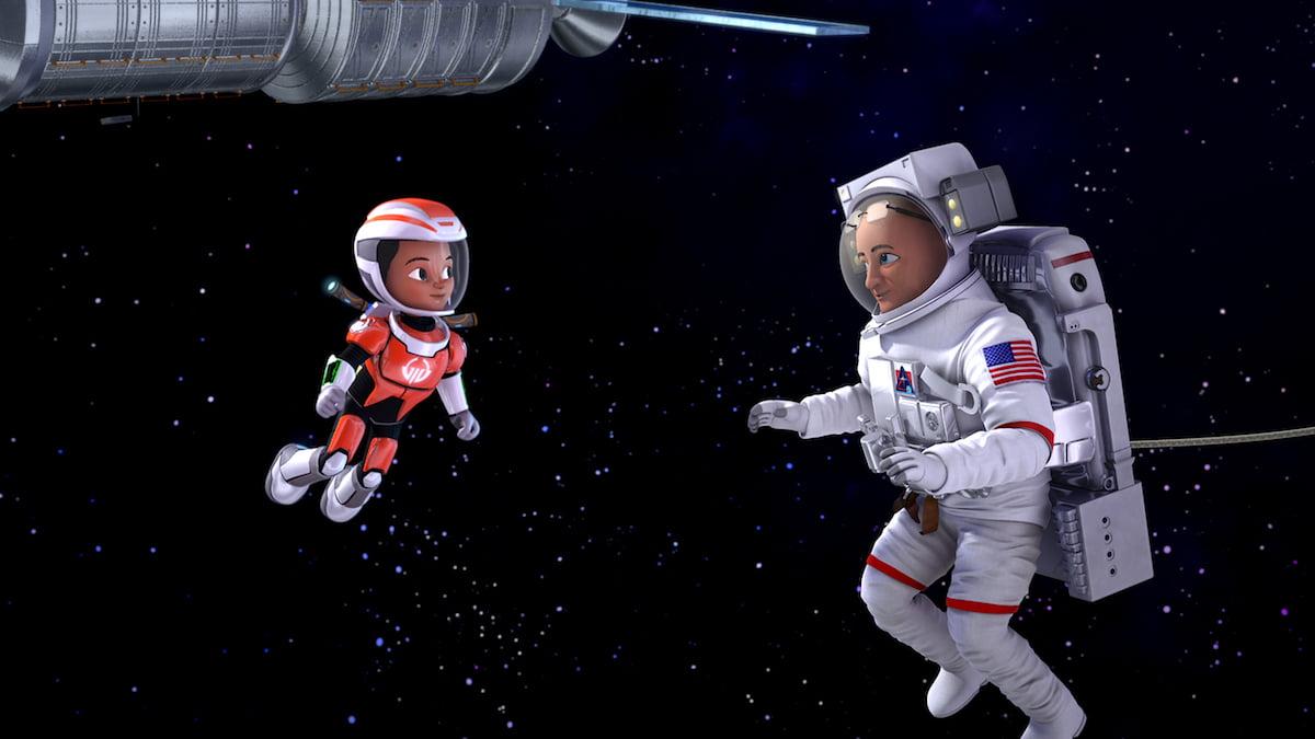 Miles Callisto meets NASA Astronaut SCOTT KELLY on a spacewalk Image via Disney