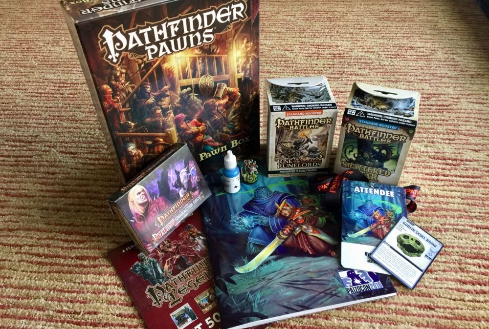 PaizoCon Swag Bag, minis, pawns, ACG cards and more!