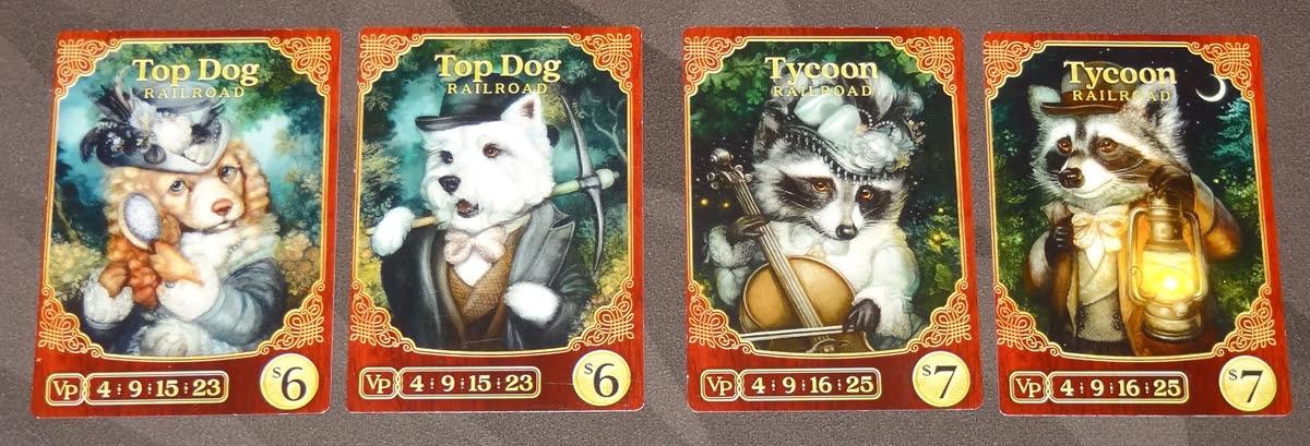Raccoon Tycoon railroad cards