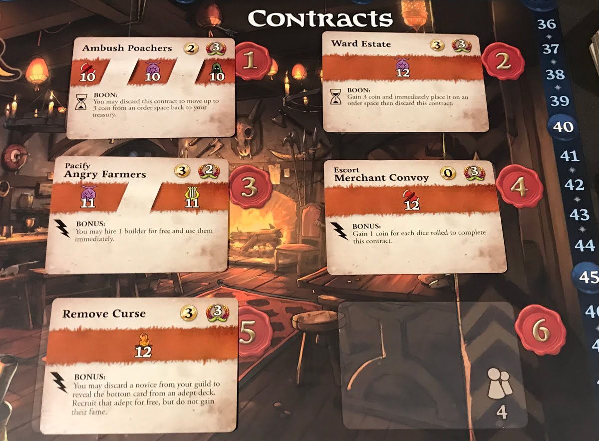 Guild Master Contracts section of board