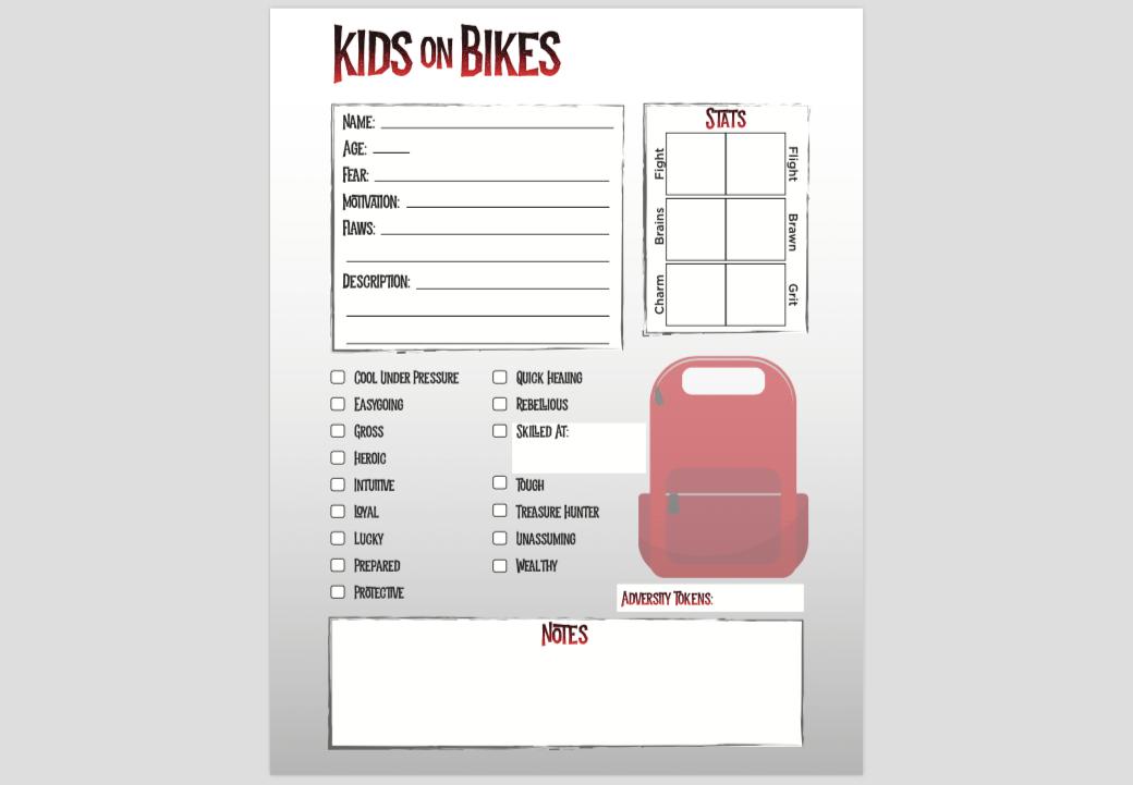 Kids on Bikes Character Sheet