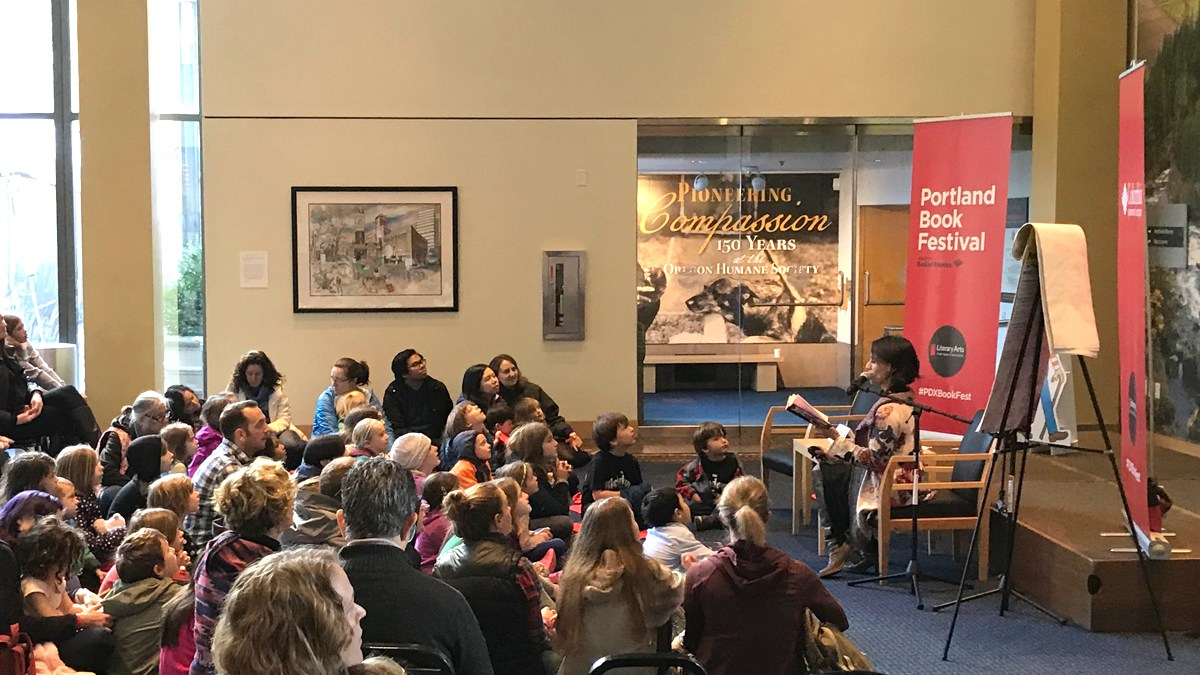 Portland Book Festival - LeUyen Pham reading to kids