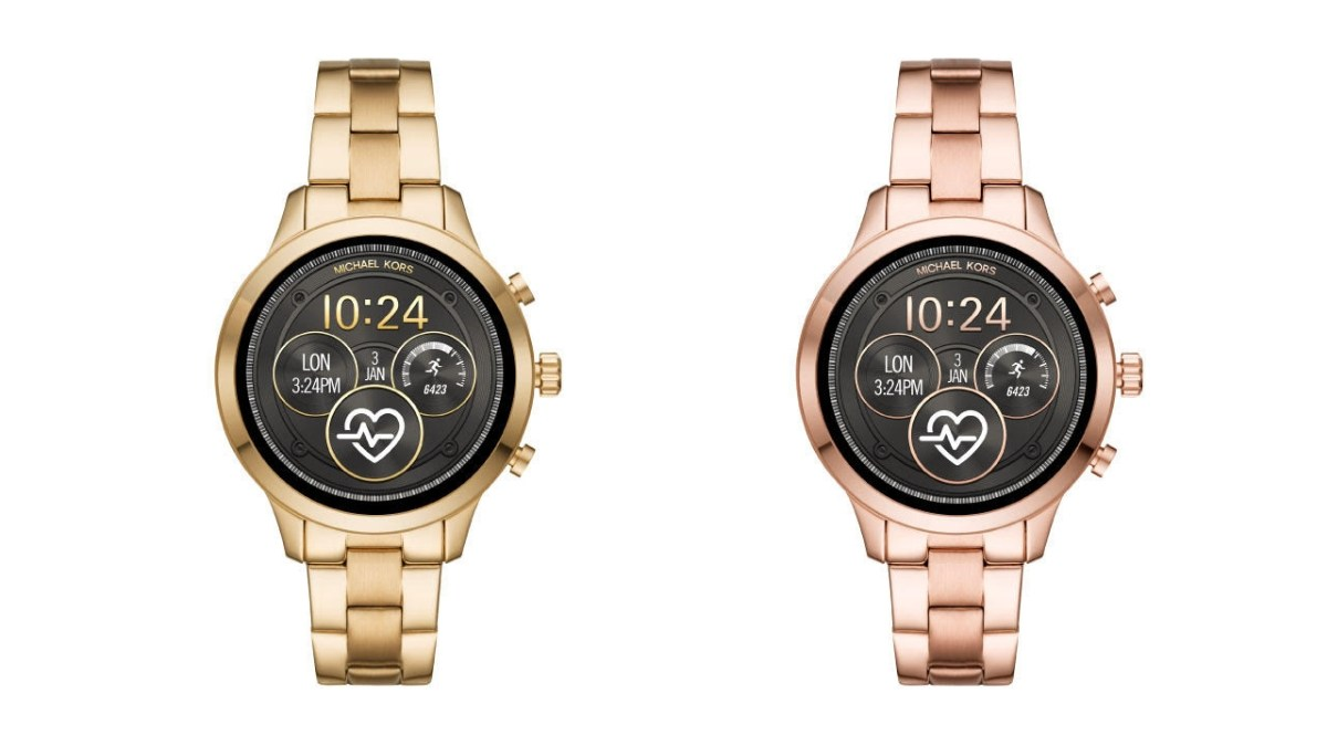Michael Kors Access Runway smartwatch with Google Wear OS in gold-tone and rose gold-tone finish.