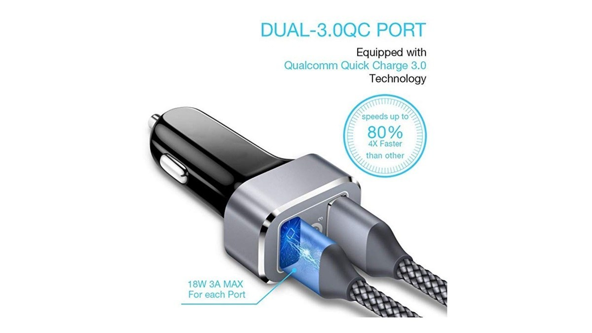 Geek Daily Deals 031419 Dual Port Quick Charge 3 USB Car Charger