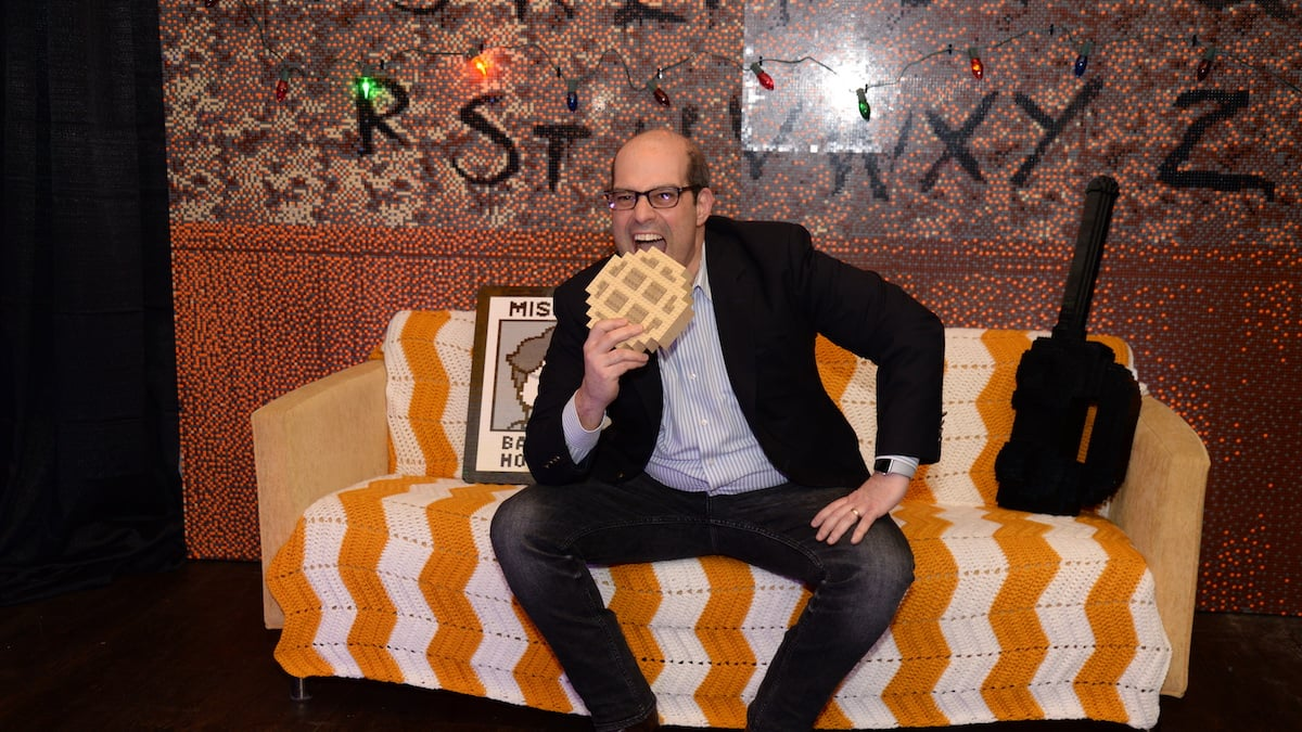 "This GeekDad enjoys a ""LEGO Eggo"" at the after-hours fan event in NYC."