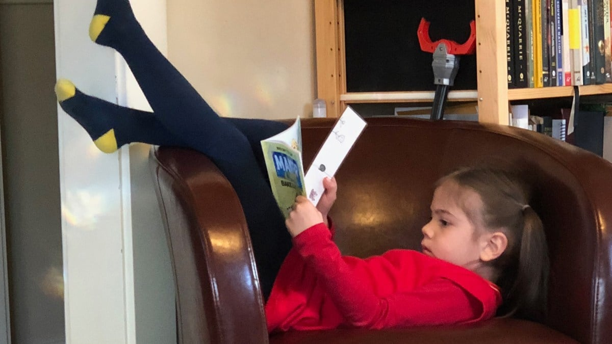 Daughter reading