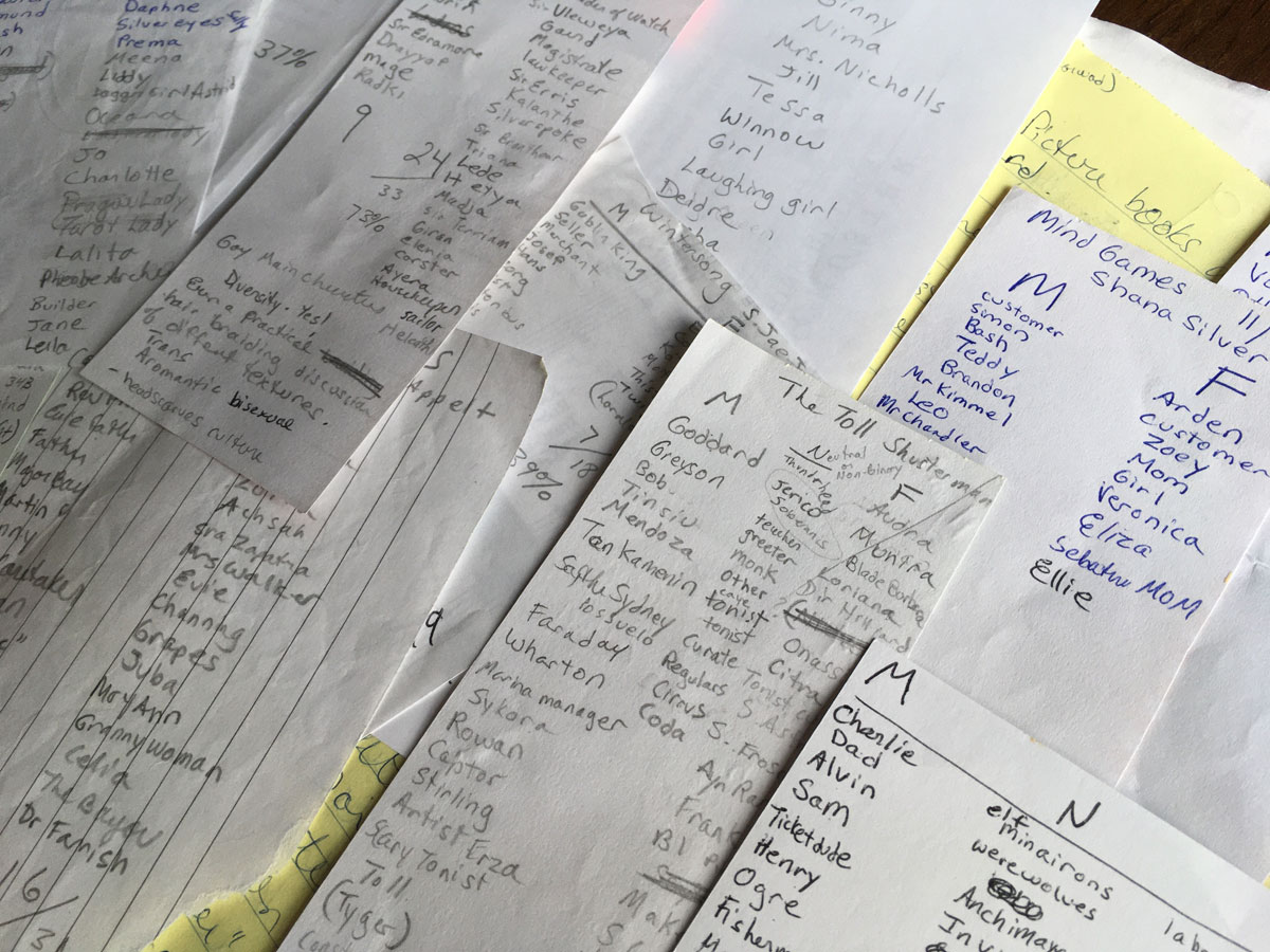 handwritten notes about characters