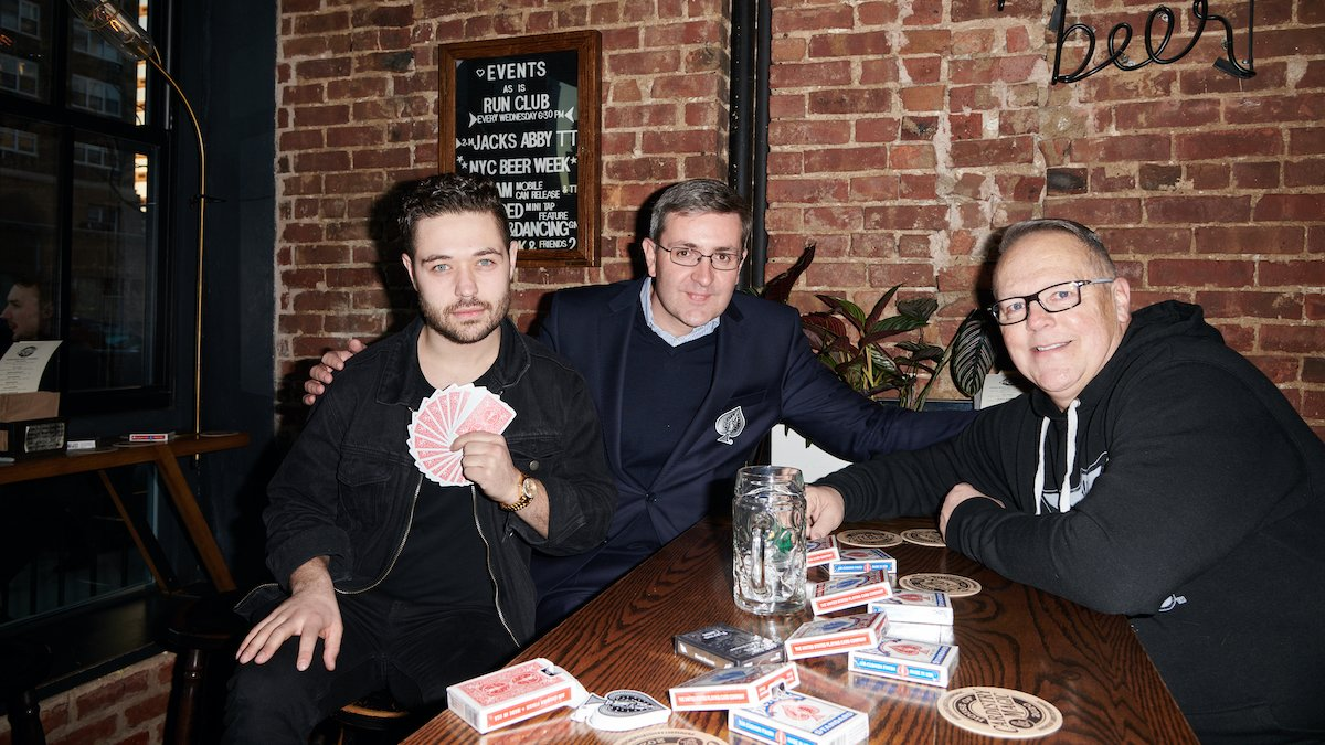 John Stessel, Stefaan Merckx, CEO of Cartamundi, and Michael Slaugter, President of USPC, at an event to celebrate Cartamundi, the world's leading manufacturer of playing cards, trading cards, and board games acquiring The United States Playing Card Company (USPC), hosted by the House of Cardistry & Magic.