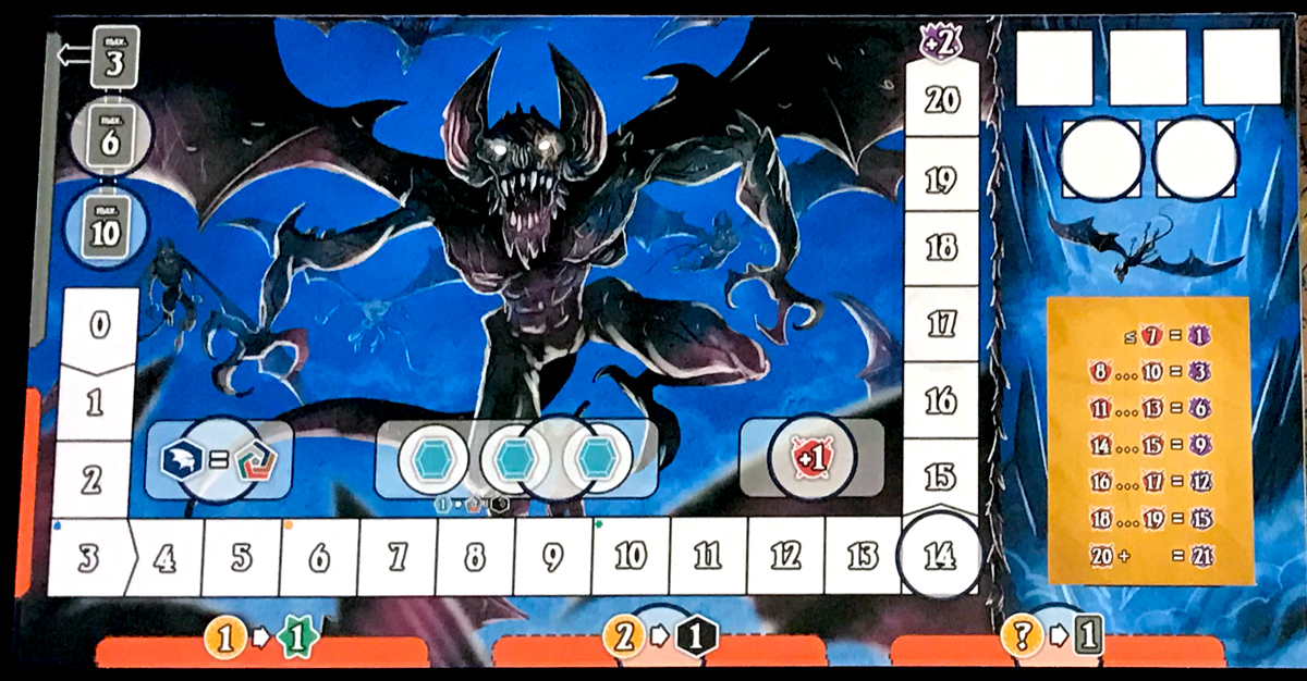Shadow Kingdoms of Valeria gargoyle player board