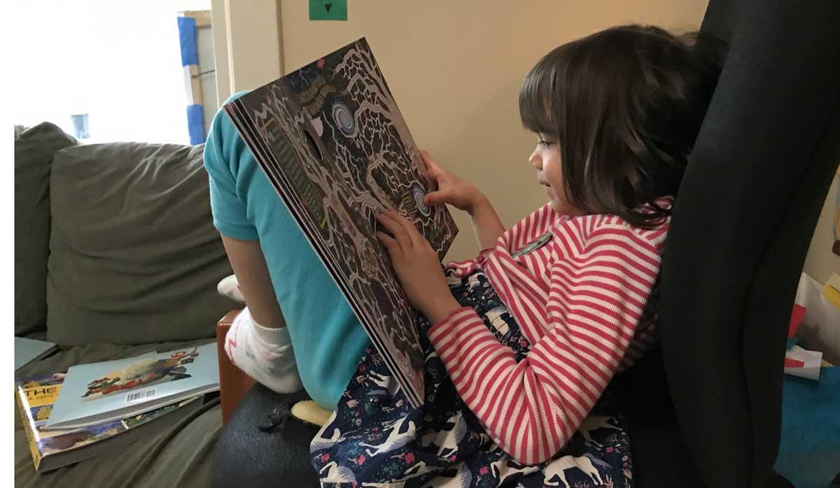 Daughter working on Mega-Maze