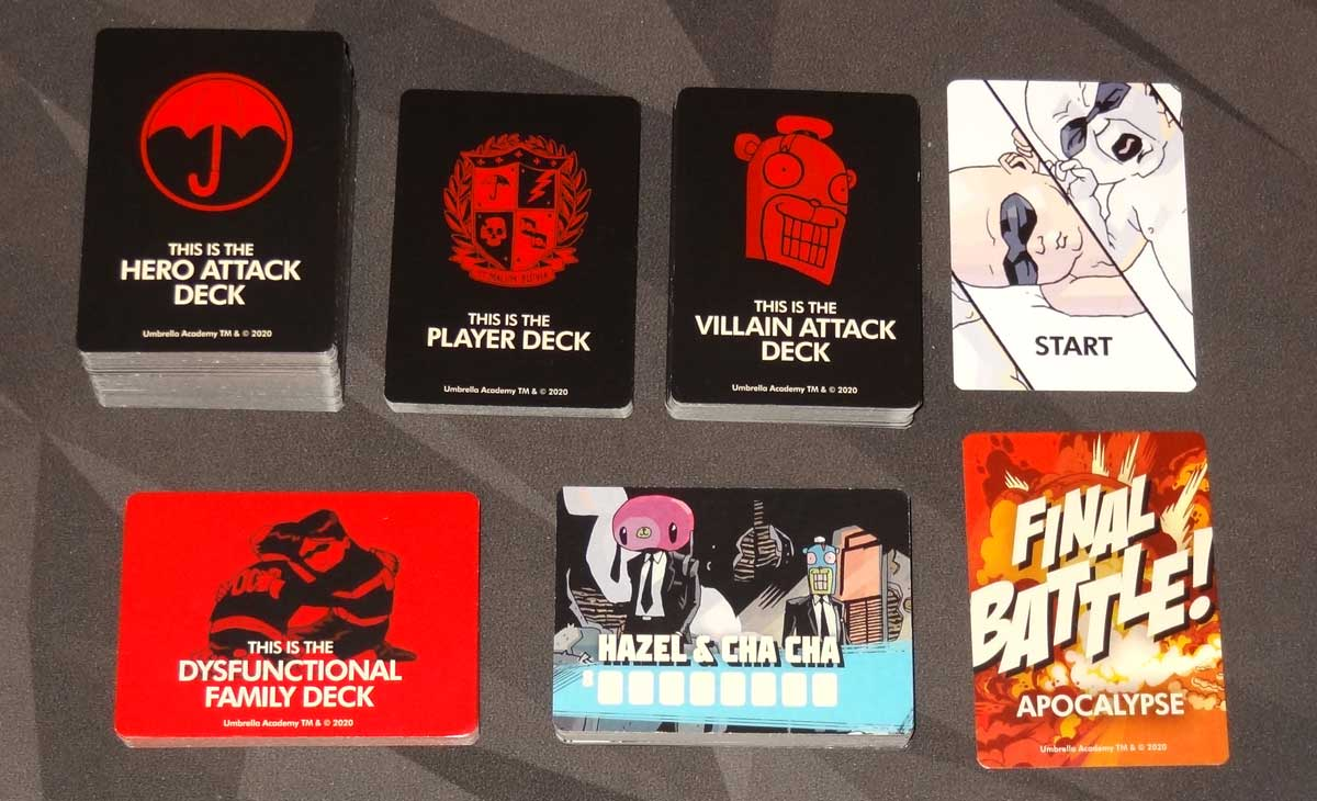 The Umbrella Academy Card Game components