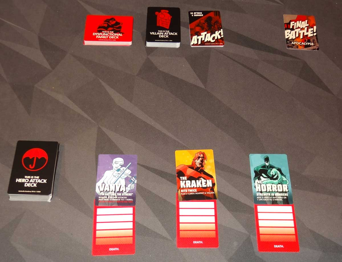 The Umbrella Academy Card Game setup