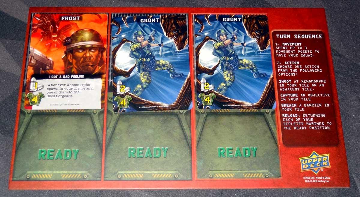 Aliens: Bug Hunt player board setup