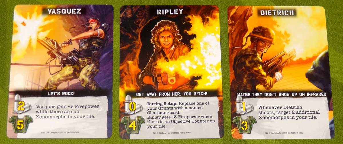 Aliens: Bug Hunt character cards