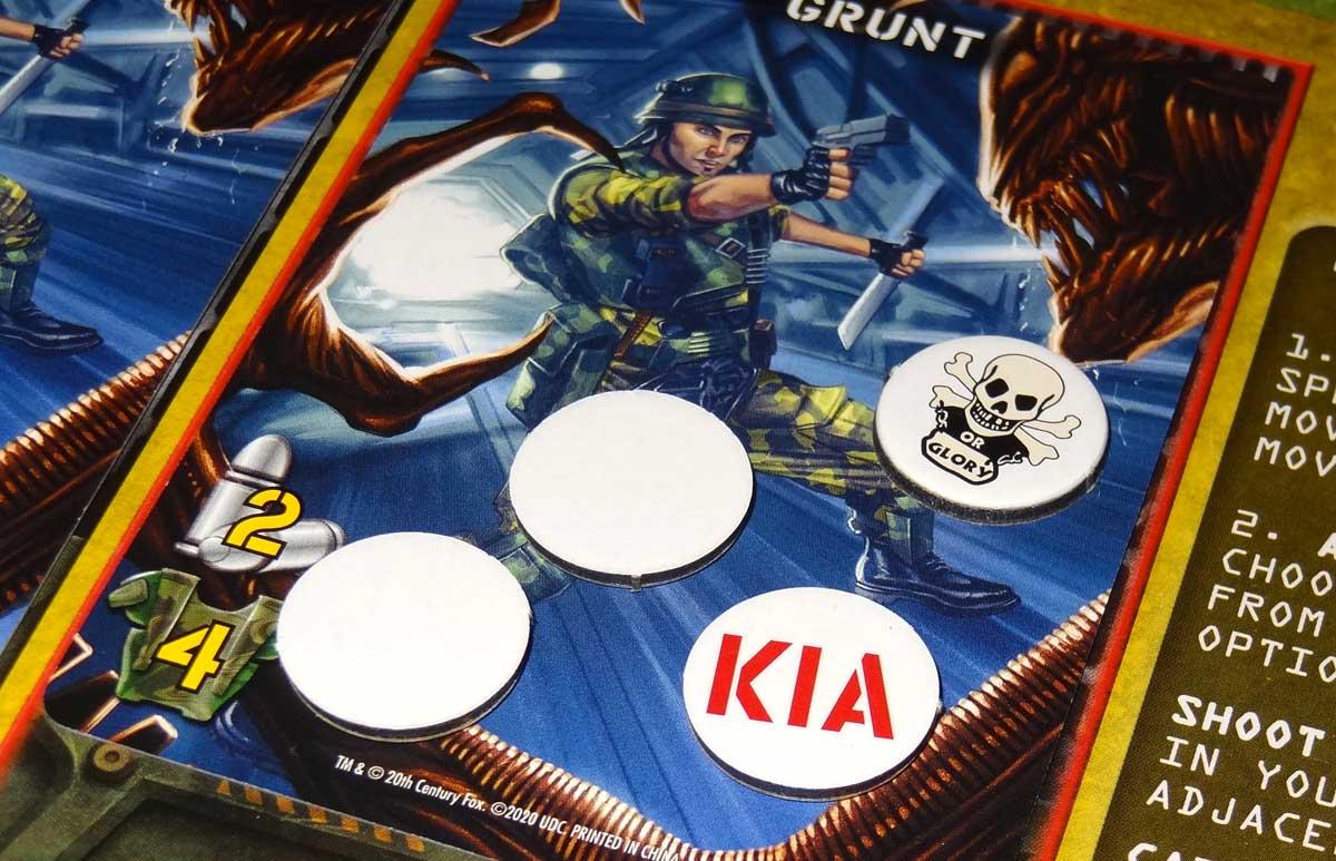 Aliens: Bug Hunt wound tokens on grunt