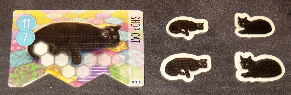 Calico shop cat tile and tokens