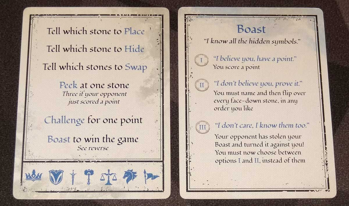 Tellstones player aid cards