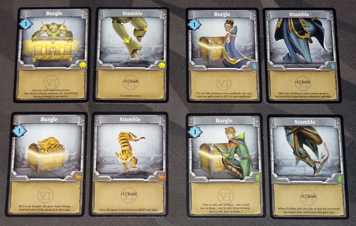 Clank! Adventuring Party Burgle and Stumble cards