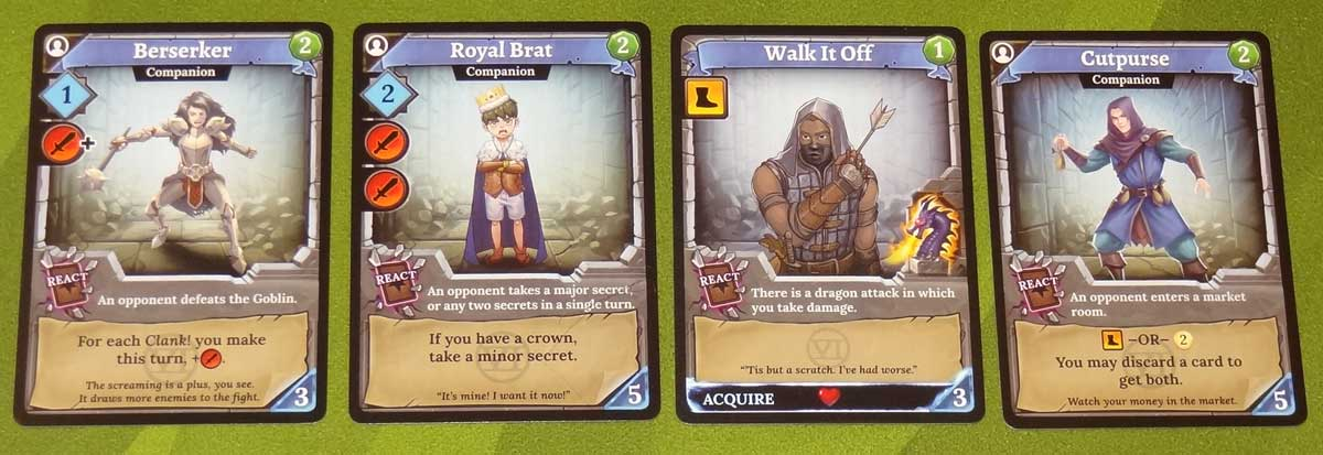 Clank! Adventuring Party React cards
