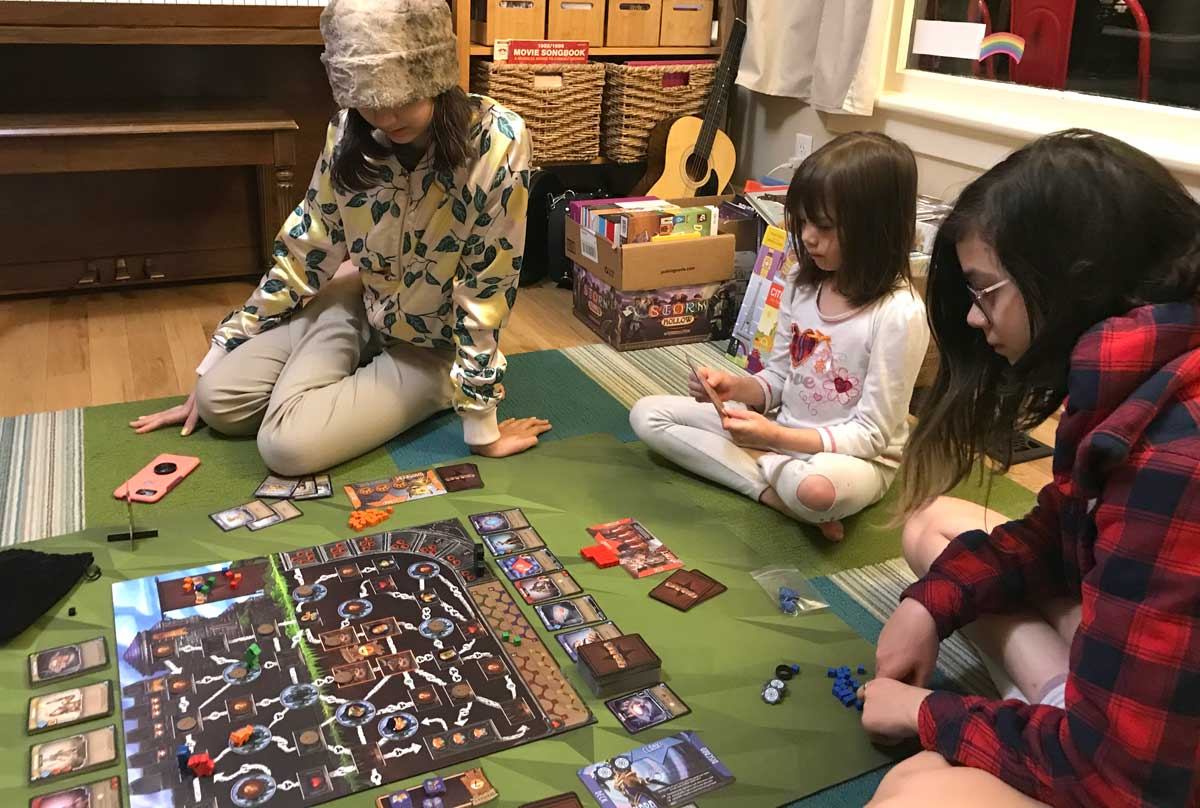 kids playing Clank! Adventuring Party