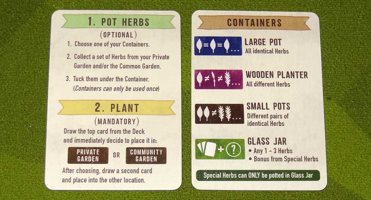 Herbaceous Pocket player aid cards