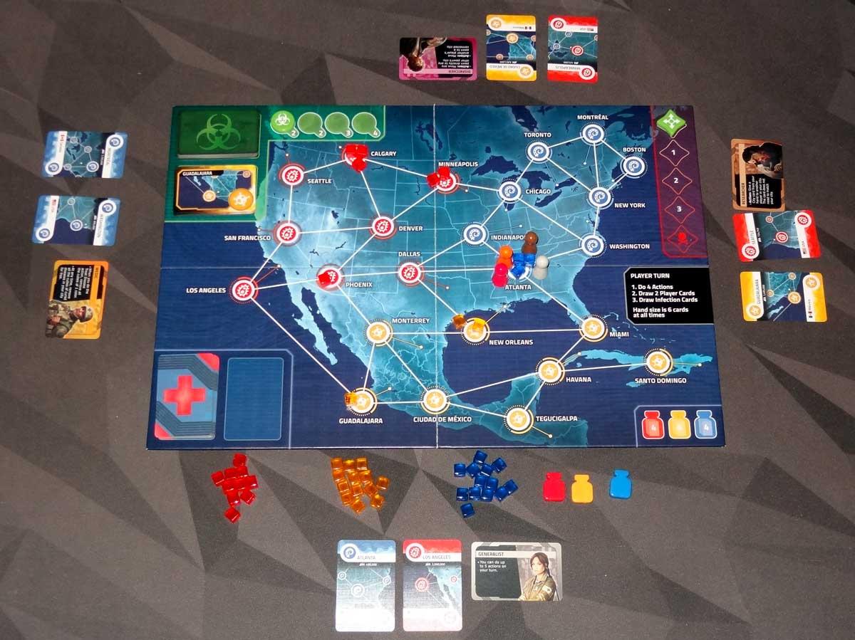 Pandemic: HotZone—North America 4-player setup