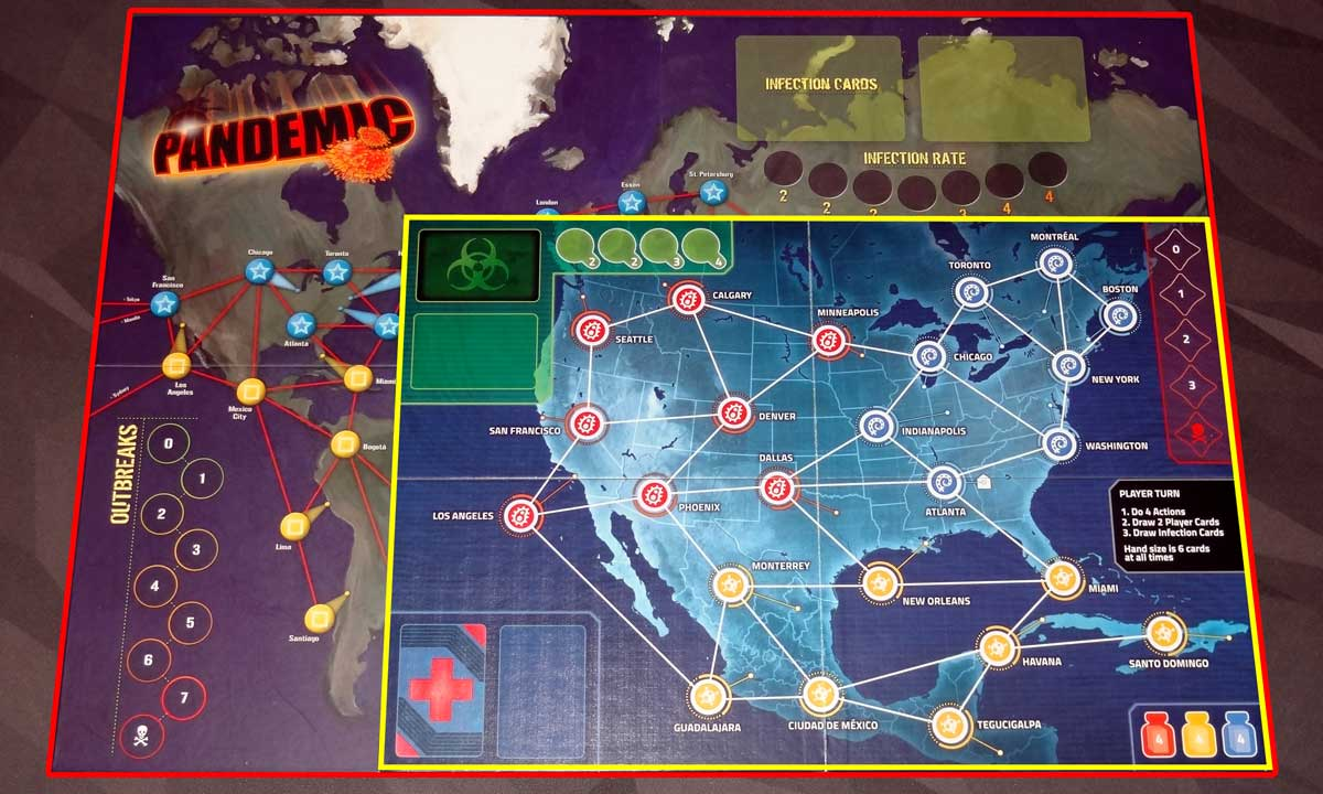 Size comparison of original Pandemic and Pandemic: HotZone—North America boards
