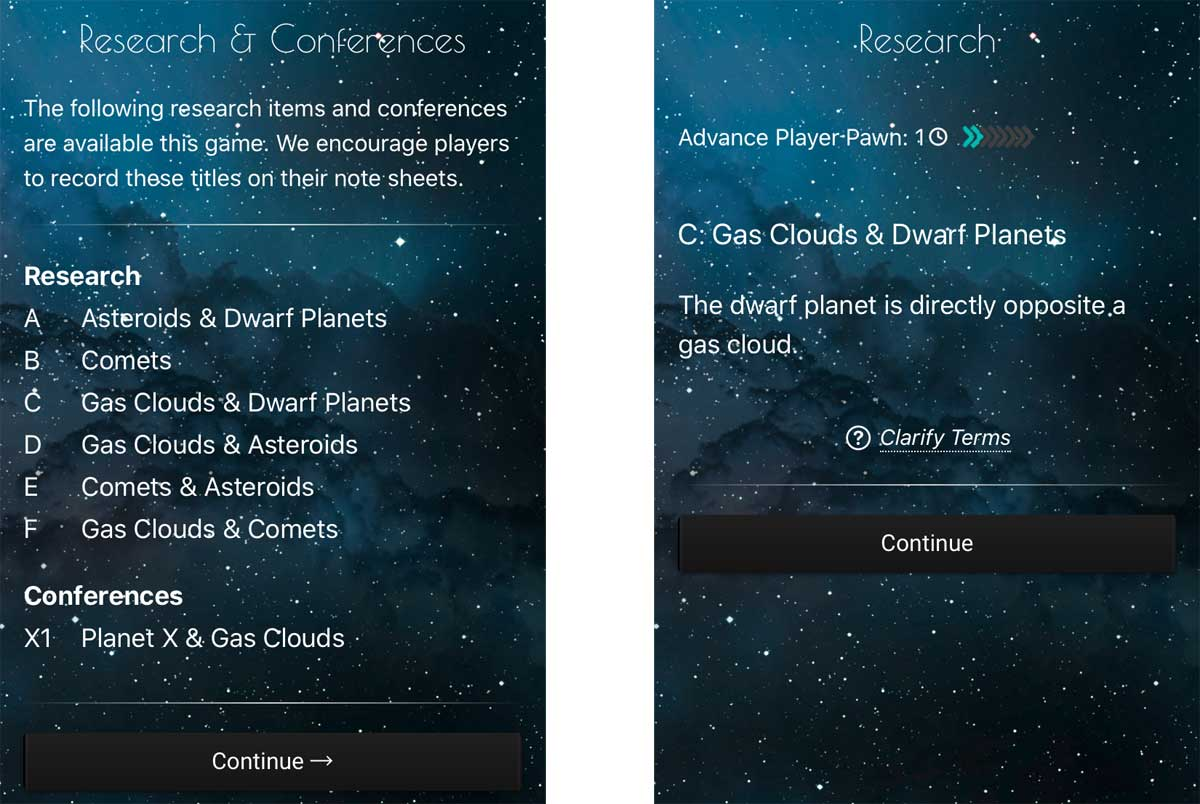 Search for Planet X app research topics and results