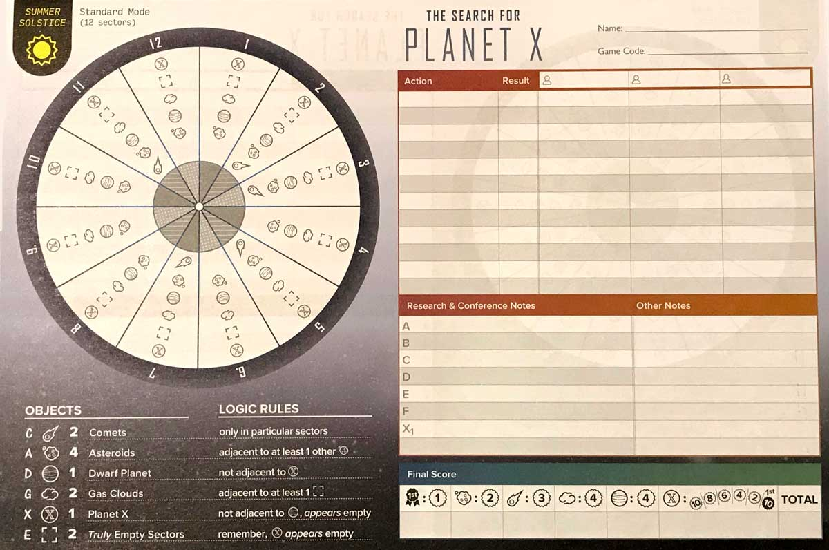 The Search for Planet X note sheet