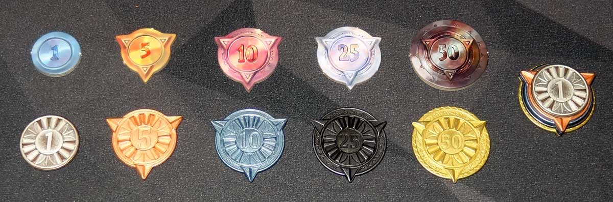 Sorcerer City cardboard tokens and metal tokens