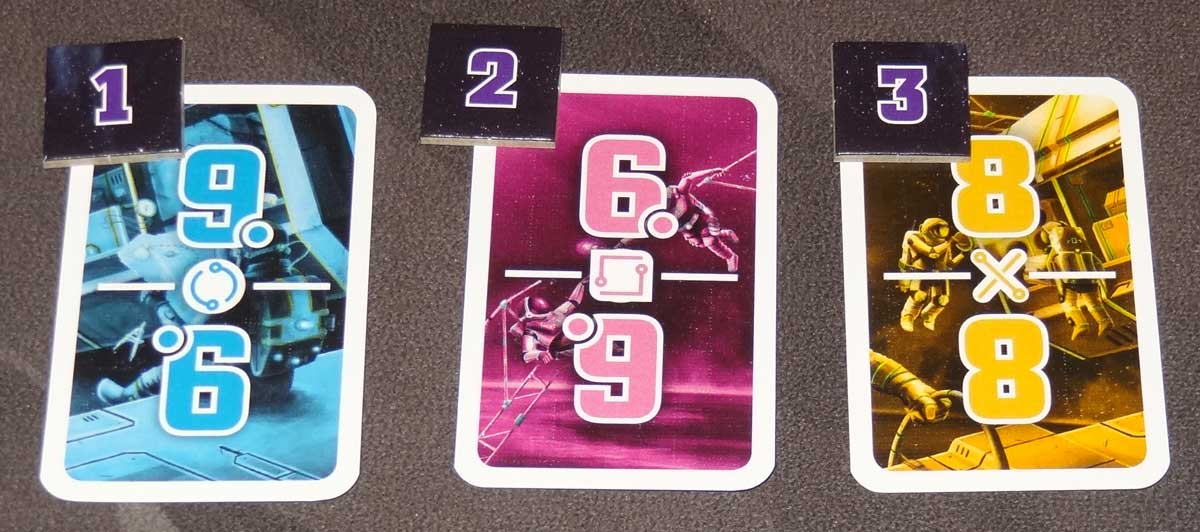 The Crew task cards with tokens