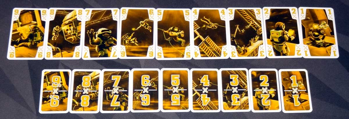 The Crew yellow color cards and task cards
