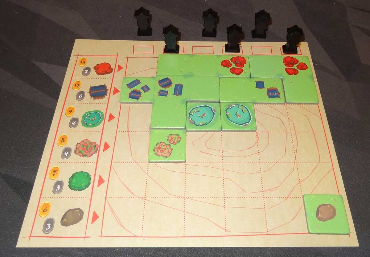 Miyabi garden board with tiles and lanterns