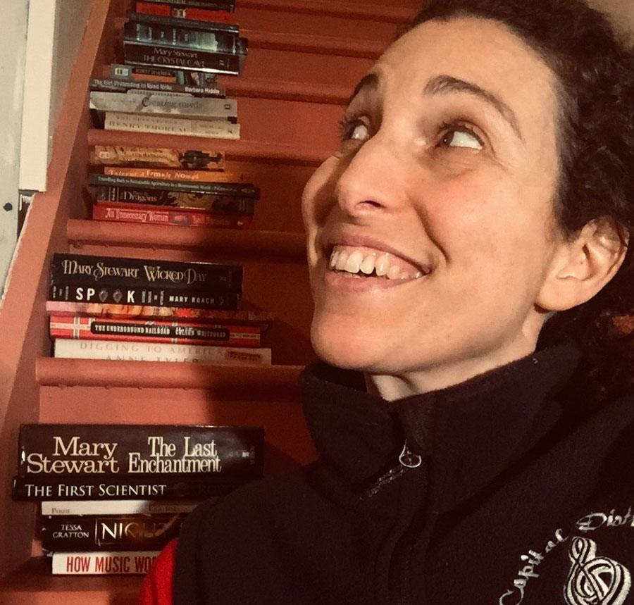 Rebecca Angel with books